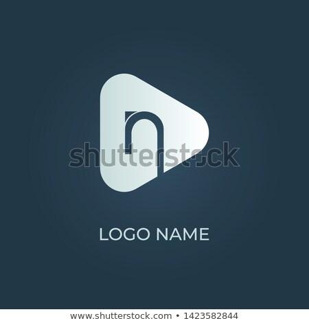 Logo sötét kék n betű vektor ikon Stock fotó © blaskorizov