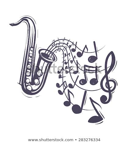 Poster ontwerp saxofoon muziek merkt illustratie kunst Stockfoto © colematt