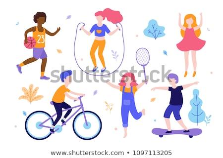 crianças · brincando · diferente · esportes · parque · ilustração · esportes - foto stock © colematt
