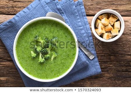 緑 · クリーム · ブロッコリー · スープ · 周りに · ボウル - ストックフォト © peteer