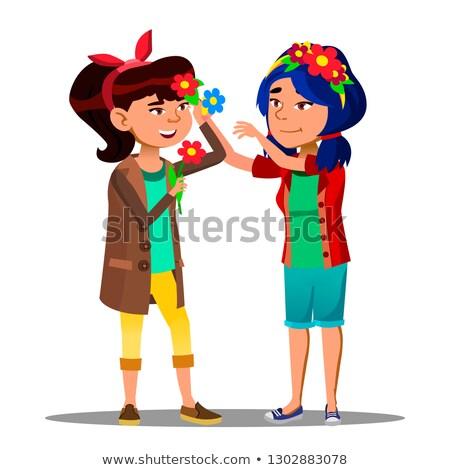 два азиатских девочек цветы фестиваля Сток-фото © pikepicture