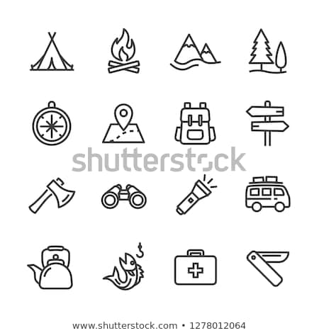 Stockfoto: Ingesteld · camping · iconen · vector · lang