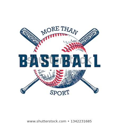 Esboço taco de beisebol bola isolado branco vetor Foto stock © Arkadivna