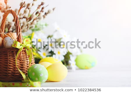 Easter greeting card with colored blue eggs Stock photo © artsvitlyna