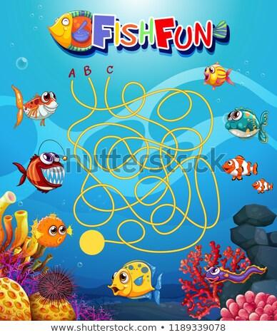 underwater fish maxe game template stock photo © colematt