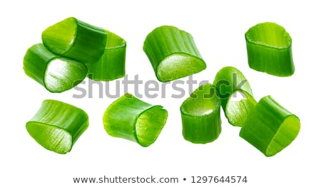 Stock photo: Chopped chives, fresh green onions isolated on white background, macro, closeup