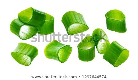 Chopped chives, fresh green onions isolated on white background, macro, closeup Stock photo © xamtiw