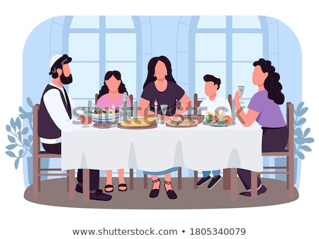 Jewish children flat cartoon concept vector isolated  Stock photo © NikoDzhi