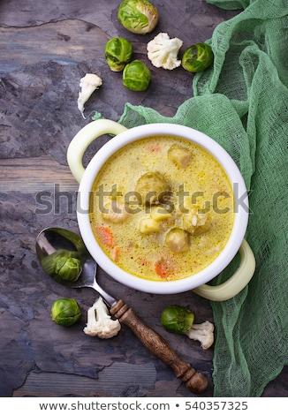 ストックフォト: ブリュッセル · クリーム · スープ · ボウル · 新鮮な · 野菜