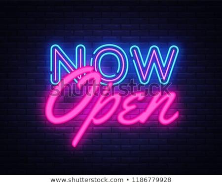 abrir · brilhante · néon · vermelho · 24 · símbolo - foto stock © haris99