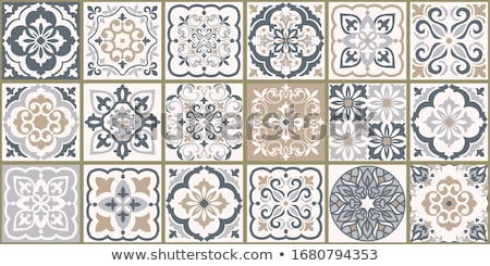 spanish or portuguese brown tiles vector pattern   azulejos tile seamless design stock photo © redkoala