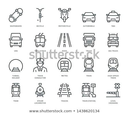 Tramwaj ikona front widoku czarno białe drogowego Zdjęcia stock © angelp