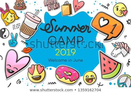 summer camp 2019 for kids creative and colorful poster with emoticon stickers vector illustration stock photo © ikopylov
