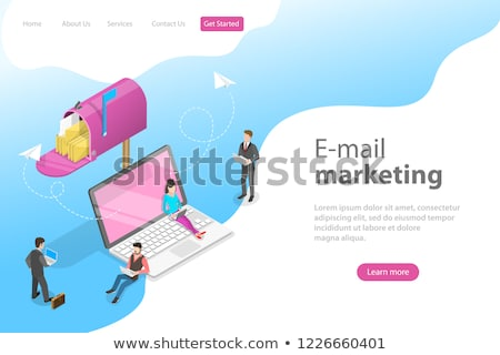 Email marketing isometric 3D landing page. Stock fotó © RAStudio