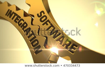 Foto stock: Software Integration on the Golden Gears. 3D Illustration.