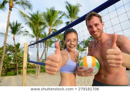 Foto stock: Feliz · casal · jogar · voleibol · verão · praia