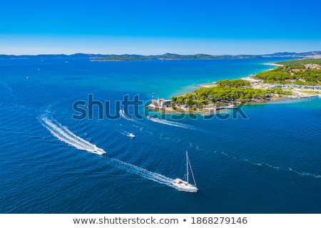 Sibenik old town and waterfront aerial view Stock photo © xbrchx