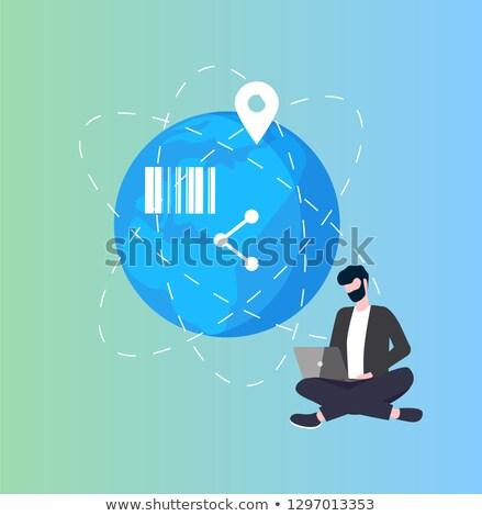 earth planet global networking bar code man user stock photo © robuart