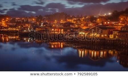 öreg · fából · készült · ház · éjszaka · illusztráció · épület - stock fotó © colematt