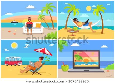 mulher · de · negócios · trabalhando · laptop · praia · caucasiano · branco - foto stock © robuart