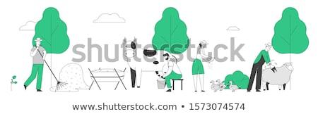 Vee vrouw koe boerderij vector Stockfoto © robuart