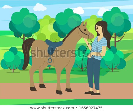 Stallion Galloping in Park, Horse in Forest Vector Stock photo © robuart
