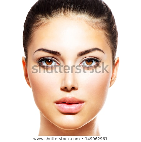 mooie · vrouw · gezicht · studio · witte - stockfoto © serdechny