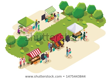 Isometric of People Shopping at Farmers Market Illustration Stock photo © artisticco