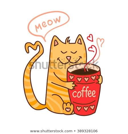 Cute cup of coffee cartoon hand drawn style stock photo © amaomam