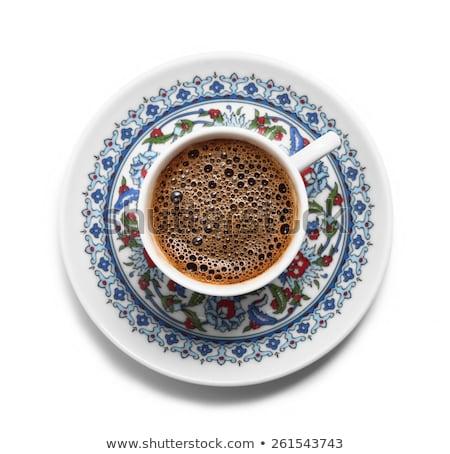 Török kávéscsésze csészealj klasszikus fa asztal kávé Stock fotó © grafvision