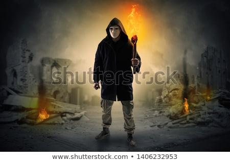 man · brandend · catastrofe · scène · vernietigd · plaats - stockfoto © ra2studio