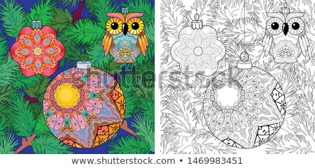 Zentangle stylized Christmas decorations with spruce branches. Hand Drawn lace vector illustration. Stock photo © Natalia_1947