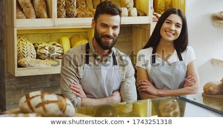Joli jeune femme fraîches pain boulangerie Photo stock © boggy