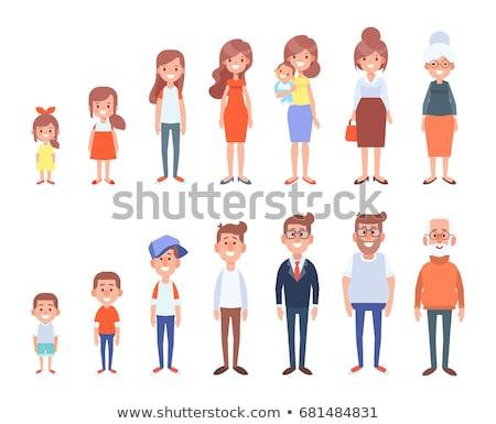 Glücklich Karikatur Familie wenig Kinder Illustration Stock foto © robuart