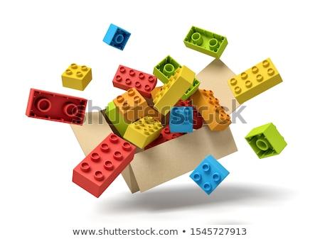 Speelgoed bakstenen 3d illustration geïsoleerd witte bouw Stockfoto © montego