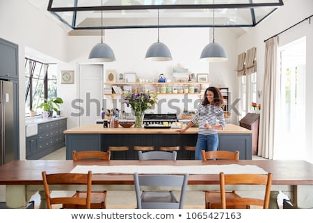 Young woman standing in the diner Stock photo © boggy