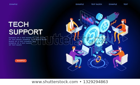 Technical support - modern isometric vector web banner Stock photo © Decorwithme