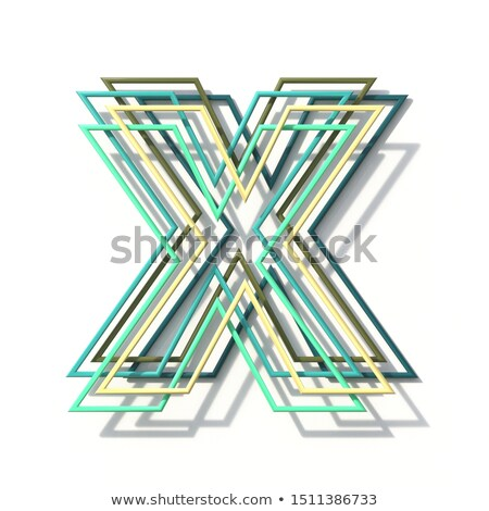 three colors line font letter x 3d stock photo © djmilic