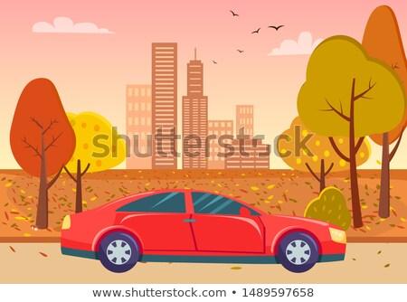 Kırmızı sedan araba şehir park sarı Stok fotoğraf © robuart