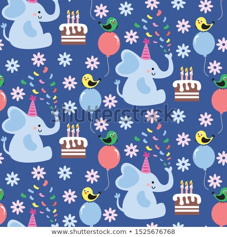 Cute baby elephant in a birthday party hat have balloon and gift Stock photo © amaomam
