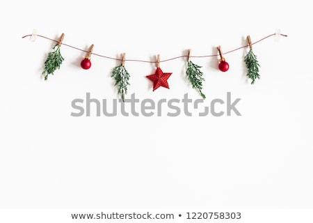 Navidad guirnalda blanco aislado marco verde Foto stock © neirfy