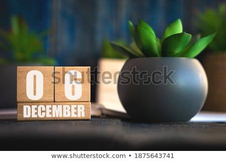 Dezembro vermelho branco tabela Foto stock © Oakozhan
