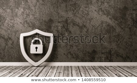 Shield Symbol on Wooden Floor Against Wall Stock photo © make