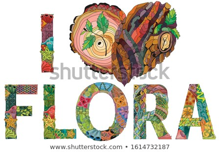 I love flora. Doodle heart with tree bark texture and young shoots Stock photo © Natalia_1947
