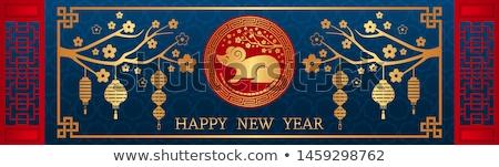 Ano novo chinês rato ouro lua cartão conjunto Foto stock © cienpies