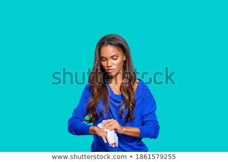 Cute черный девушки стиральные рук болезнь Сток-фото © zkruger