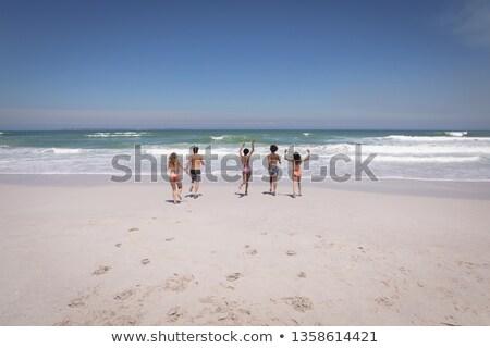 Hátsó nézet csoport többnemzetiségű barátok fut óceán Stock fotó © wavebreak_media