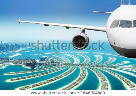 Airplane Flying Over Palm Island In Dubai Stock photo © AndreyPopov