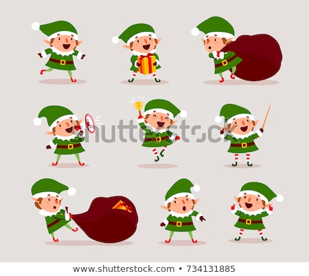 Elf or Santa Helper Jumping Isolated Character Stock photo © robuart