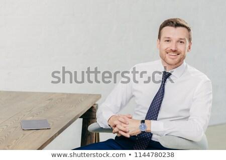 Vízszintes lövés jómódú férfi vállalkozó hivatalos Stock fotó © vkstudio